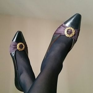 Vintage Navy Leather Gold Ring Shoe